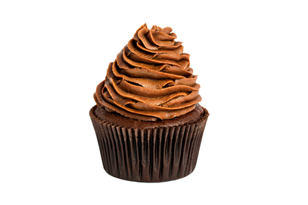 Chocolate sweet cupcake on a white background.