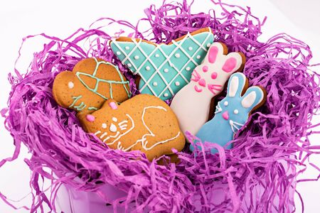 Closeup of tasty Gingerbread colorful figure cookies isolated on white