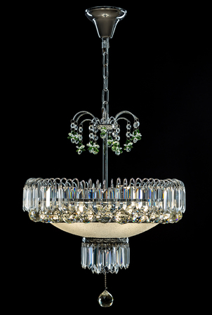 antique furniture: Contemporary silver chandelier isolated on black background. Crystal chandelier Stock Photo