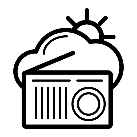 Vector weather forecast for the radio. Clouds and sun and radio on white background Illustration