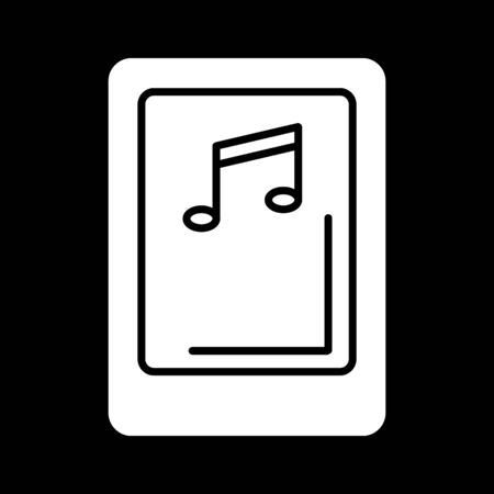 pause button: Isolated tablet screen with music player symbol on black background. Concept of audio playback, multimedia, stream.