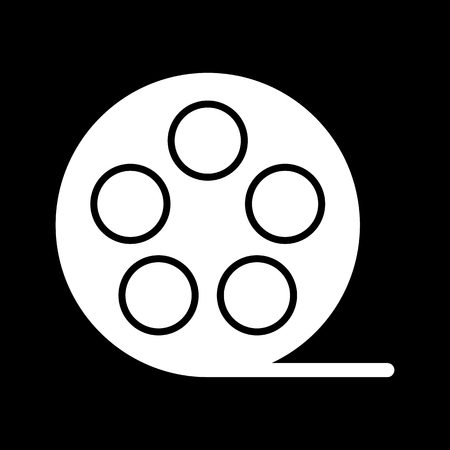 film Icon. Vector illustration of video concept isolated on black