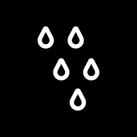 dewdrops: Drop Vector Icon. line design isolated on black