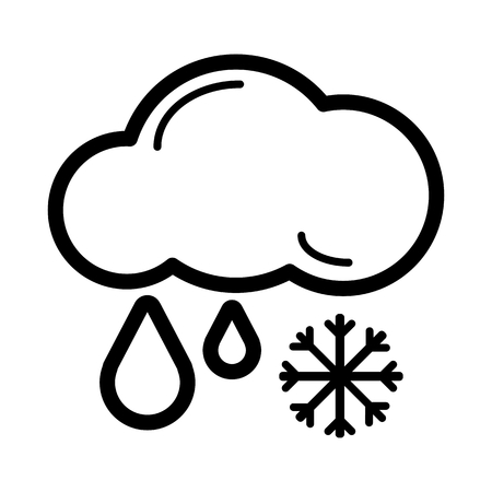 sleet: Snow with rain vector icon. Black and white weather illustration.