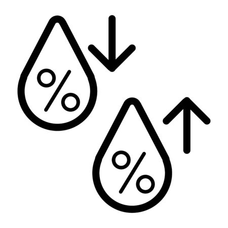 High humidity vector icon. Black and white Humidity increases and decreases illustration. Outline linear icon.