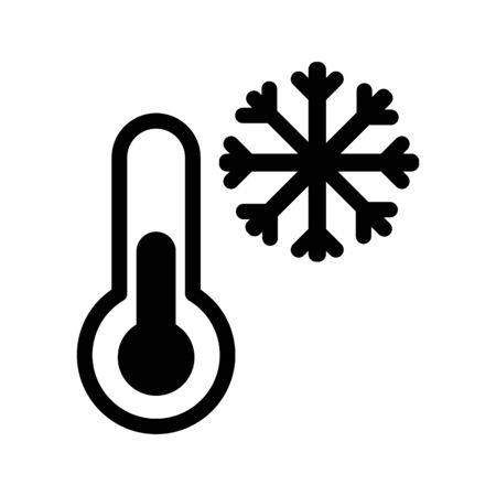 Icône de vecteur de gel et thermomètre. Illustration noir et blanc à basse température. Icône de neige linéaire solide. Vecteurs