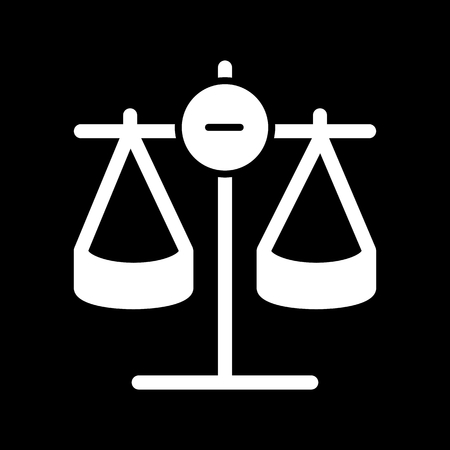 acquit: Scales vector icon. Black and white Scales of justice illustration. Solid linear icon. Illustration