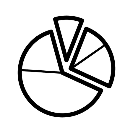 Pie chart diagram vector icon. Black and white graphic illustration. Outline linear analytical icon.