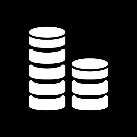 Coin stack vector icon. Black and white money illustration. Solid linear finance icon. Illustration