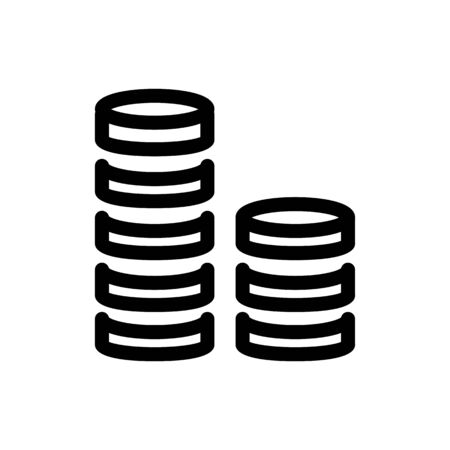 Coin stack vector icon. Black and white money illustration. Outline linear finance icon. Illustration