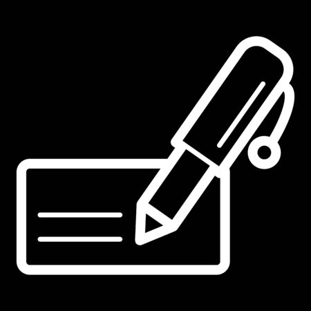 note paper: Notes and pen vector icon. Black and white note illustration. Outline linear business icon. Illustration