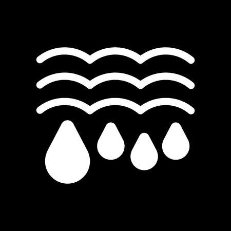 Water drops and waves icon. Falling drops Vector Illustration. thaw isolated on black.
