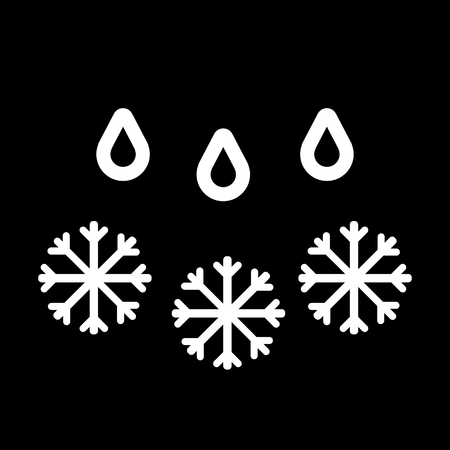 snow with rain vector icon. Black and white weather illustration.