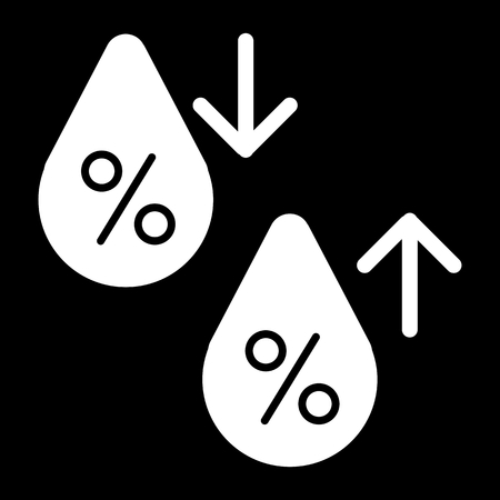 High humidity vector icon. Black and white Humidity increases and decreases illustration. Solid linear icon.