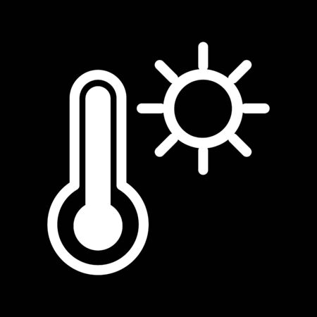 conditioned: Thermometer and sun vector icon. Black and white high temperature illustration. Outline linear icon.