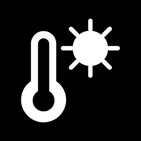 Thermometer and sun vector icon. Black and white high temperature illustration. Solid linear icon. Illustration