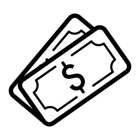 money packs: Money dollar vector icon. Black and white cash illustration. Outline linear banking icon. Illustration