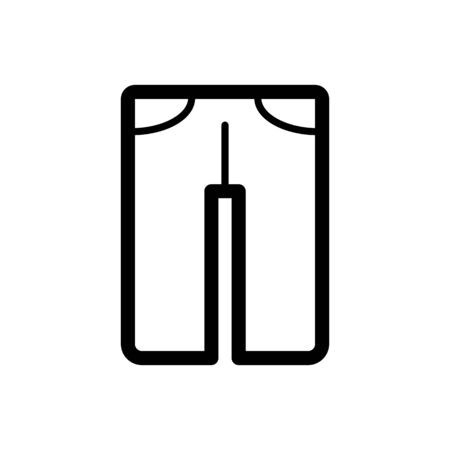 man pants vector icon. Black and white man clothes illustration. Outline linear clothing icon.