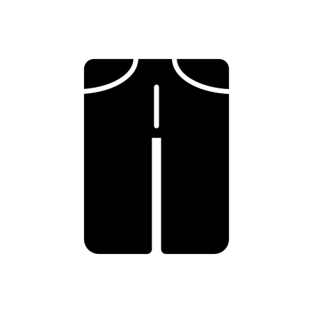 man pants vector icon. Black and white man clothes illustration. Solid linear clothing icon.
