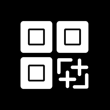 quick response code: QR code vector icon. Black and white qr code illustration. Solid linear icon.