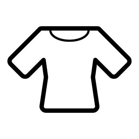 Woman t-shirt vector icon. Black and white shirt illustration. Outline linear clothing icon.