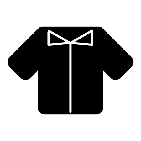 Man t-shirt vector icon. Black and white shirt illustration. Solid linear clothing icon.