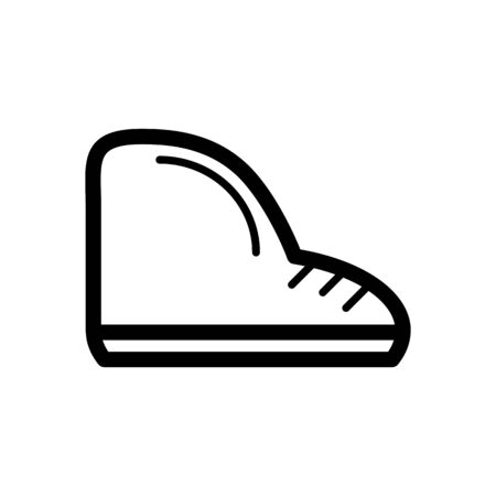 aligned: Boots vector icon. Black and white shoes illustration. Outline linear footwear icon. Illustration
