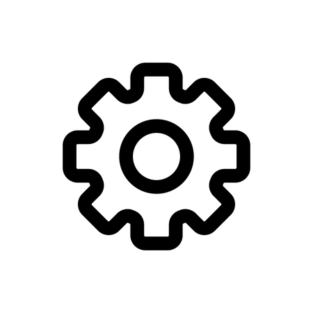 Gear vector icon. Black and white gears illustration. Outline linear icon. Vectores