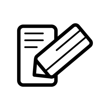note paper: Notes and pan vector icon. Black and white note illustration. Outline linear business icon. Illustration