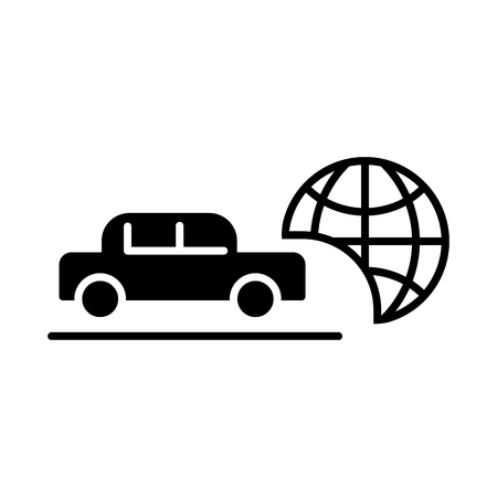 Travel by car vector icon. Black and white transport illustration. Solid linear icon.