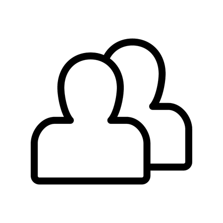 socialnetwork: Person silhouette vector icon. Black and white user avatar illustration. Outline linear icon. Illustration