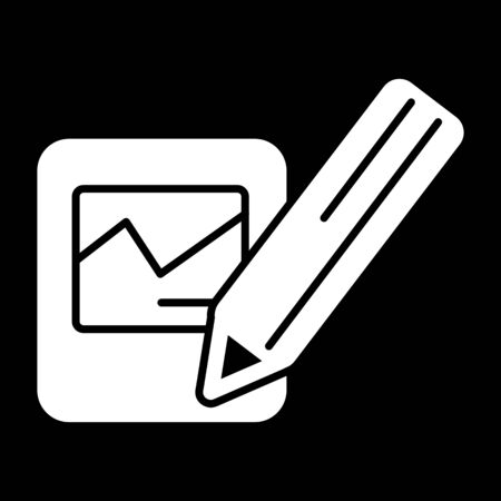 Notes and pan vector icon. Black and white note illustration. Solid linear business icon. Illustration