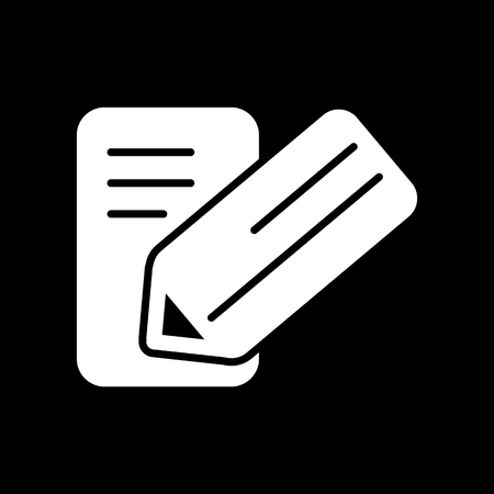 school bills: Notes and pan vector icon. Black and white note illustration. Solid linear business icon. Illustration