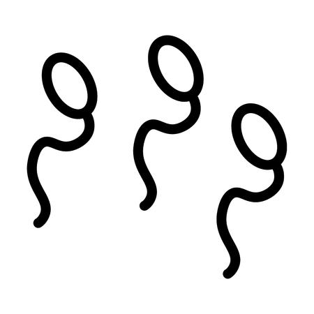 fertility emblem: Spermatozoon vector icon. Black and white Spermatozoon illustration. Outline linear icon.