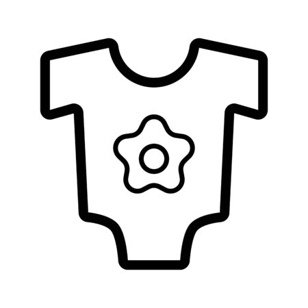 romper: Baby bodysuit vector icon. Black and white baby clothes for girl illustration. Outline linear icon. Illustration