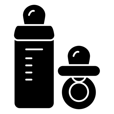 Baby pacifier and bottle vector icon. Black and white baby dummy illustration. Solid linear icon.