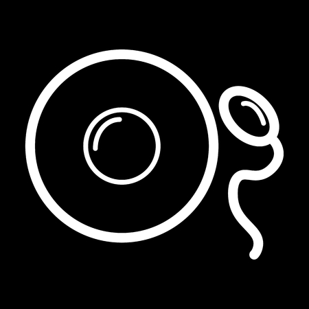 spermatozoid: Sperm and egg vector icon. Black and white fertilization llustration. Outline linear simple icon.