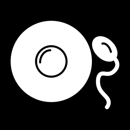 A Sperm and egg vector icon. Black and white fertilization illustration. Solid linear simple icon.