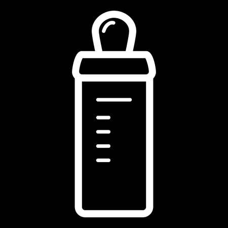 Baby bottle vector icon. Black and white baby nipple illustration. Outline linear icon.