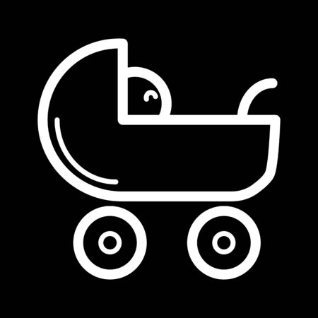 Baby carriage vector icon. Black and white pram illustration. Outline linear newborn icon. Illustration