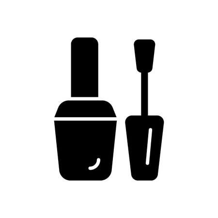 nail polish vector icon. Black illustration on white background. Solid linear beauty icon.