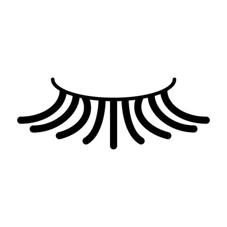 human face: False simple eyelash vector icon. Black eyelash illustration on white background. Solid linear beauty icon. Illustration