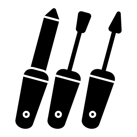 Set of Manicure accessories vector icon. Black nail care illustration on white background. Solid linear icon.
