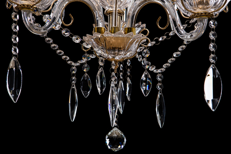 Chandelier for interior of the living room. chandelier details isolated on black background. Stock Photo