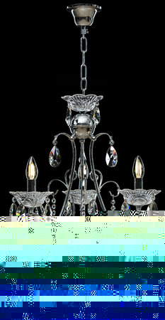 Chandelier for interior of the living room. Large silver crystal chandelier isolated on black background