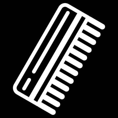 haircutting: Comb for man vector icon. Black and white comb illustration. Outline linear beauty and care icon.