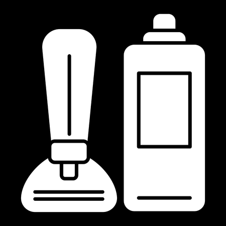 Shaving foam and razor vector icon. White shaving tools illustration on black background. Solid linear icon.