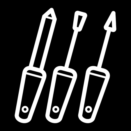 vitreous body: Set of Manicure accessories vector icon. White nail care illustration on black background. Outline linear icon.