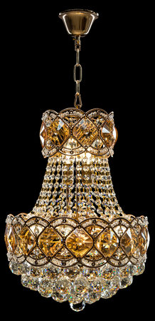 Large crystal chandelier in baroque style isolated on black background. Luxury royal expensive chandelier for living room, Hall of celebration.