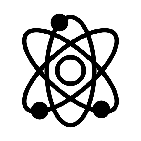 Solid linear atom icon.